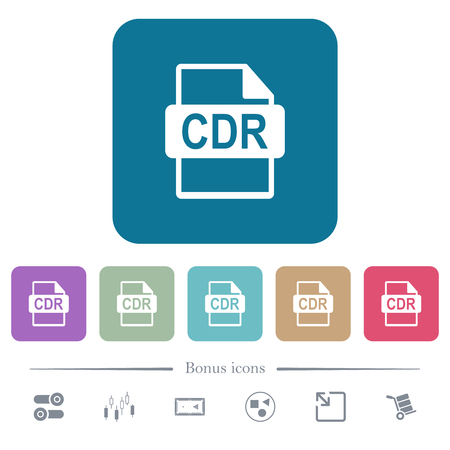 CDR file format white flat icons on color rounded square backgrounds. 6 bonus icons included Illustration