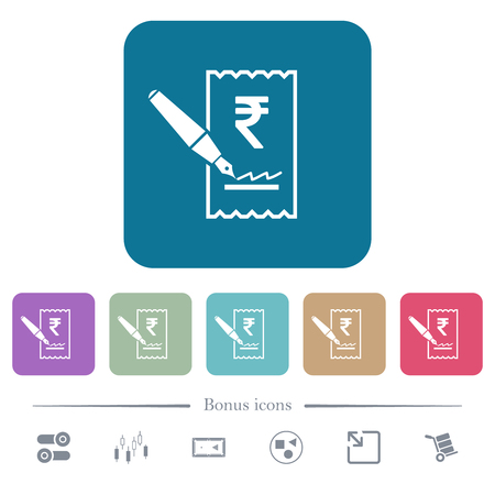 Signing Rupee cheque white flat icons on color rounded square backgrounds. 6 bonus icons included