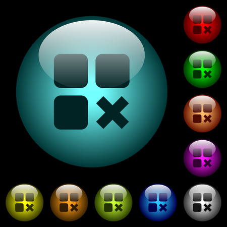 Component cancel icons in color illuminated spherical glass buttons on black background. Can be used to black or dark templates 일러스트