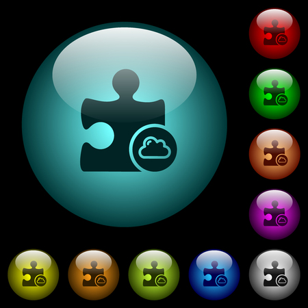 Cloud plugin icons in color illuminated spherical glass buttons on black background. Can be used to black or dark templates