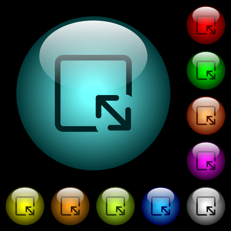 Resize object icons in color illuminated spherical glass buttons on black background. Can be used to black or dark templates