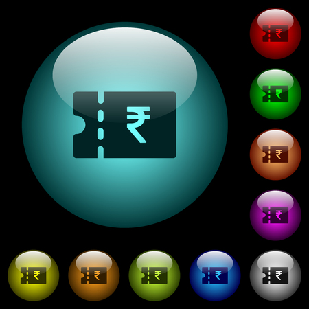 Indian Rupee discount coupon icons in color illuminated spherical glass buttons on black background. Can be used to black or dark templates 矢量图像