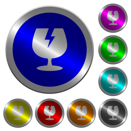 Fragile symbol icons on round luminous coin-like color steel buttons