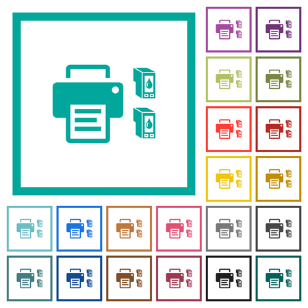 Printer and ink cartridges flat color icons with quadrant frames on white background