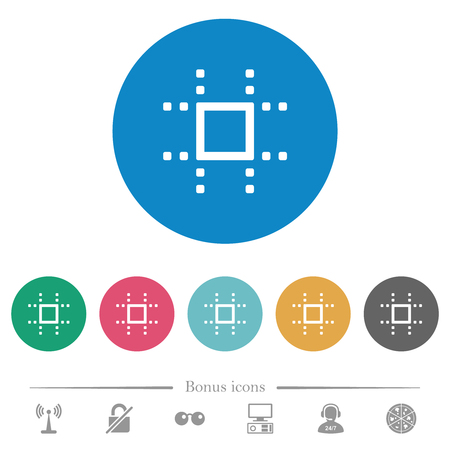 Snap to grid flat white icons on round color backgrounds. 6 bonus icons included. Illustration