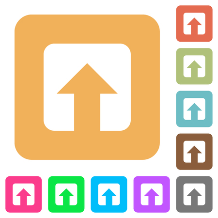 Upload flat icons on rounded square vivid color backgrounds. 向量圖像