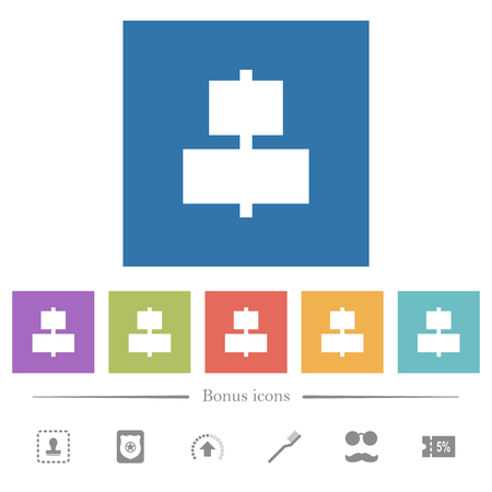 Align to center flat white icons in square backgrounds. 6 bonus icons included. Ilustração