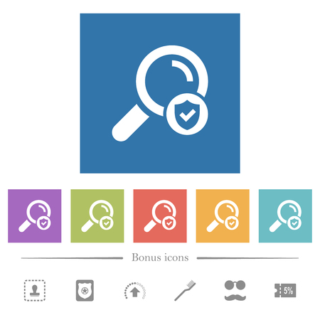 Safe search flat white icons in square backgrounds. 6 bonus icons included.