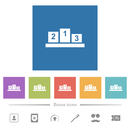 Winners podium with inside numbers flat white icons in square backgrounds. 6 bonus icons included.