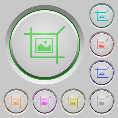 Crop picture color icons on sunk push buttons Stock Illustratie