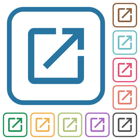 Launch application simple icons in color rounded square frames on white background 矢量图像