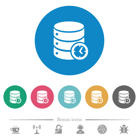 Database timed events flat white icons on round color backgrounds. 6 bonus icons included.