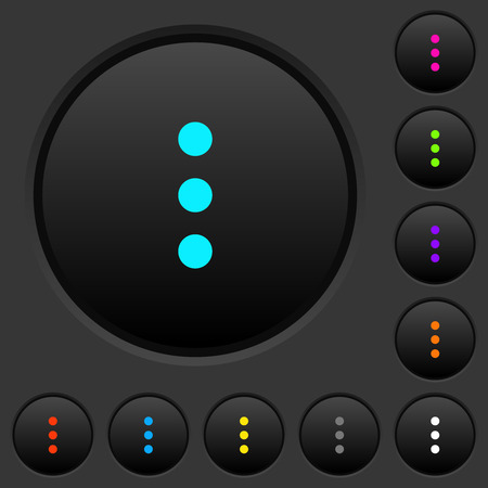 More options dark push buttons with vivid color icons on dark grey background