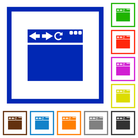 Empty browser flat color icons in square frames on white background Illustration