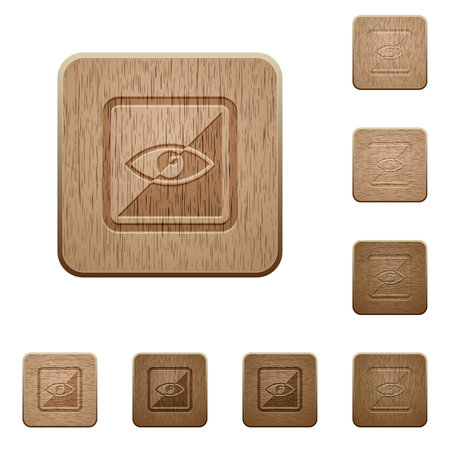 Invert object on rounded square carved wooden button styles