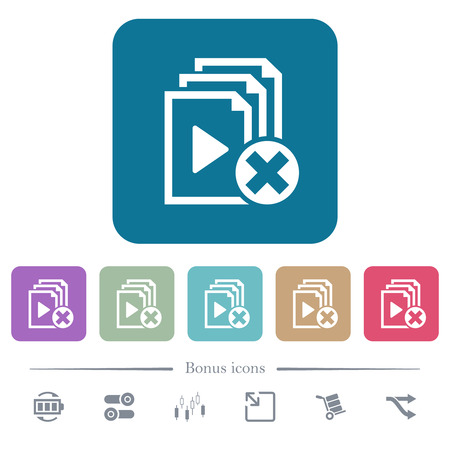 Cancel playlist white flat icons on color rounded square backgrounds. 6 bonus icons included Illustration