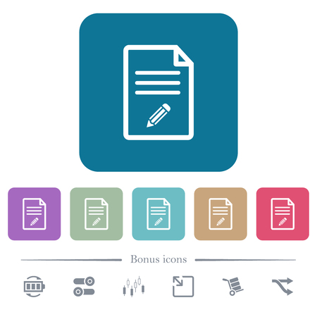 Edit document white flat icons on color rounded square backgrounds. 6 bonus icons included