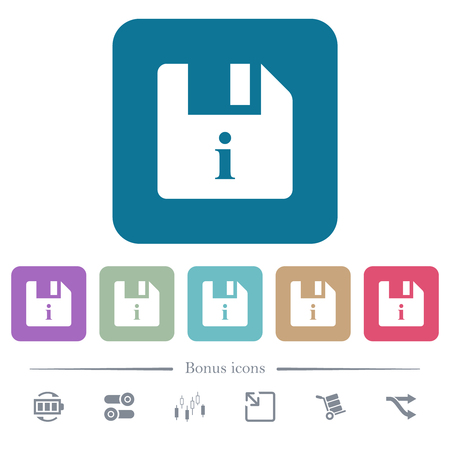 File info white flat icons on color rounded square backgrounds. 6 bonus icons included Illustration