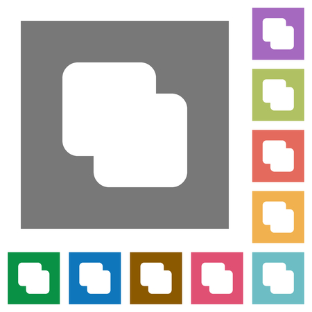 Add shapes flat icons on simple color square backgrounds Vectores