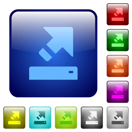 Export icons in rounded square color glossy button set