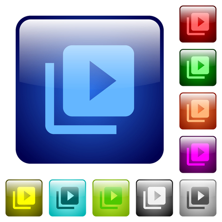 Video library icons in rounded square color glossy button set