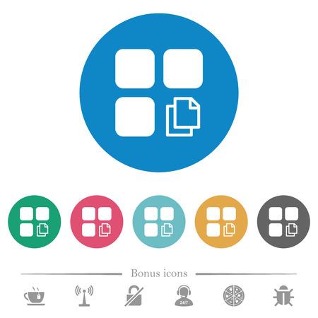 Copy component flat white icons on round color backgrounds. 6 bonus icons included. Illusztráció