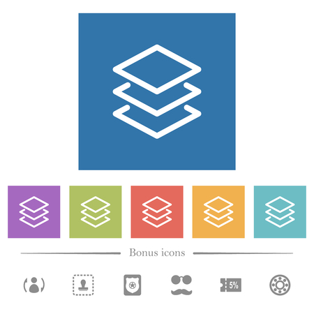 Layers flat white icons in square backgrounds. 6 bonus icons included. Ilustrace