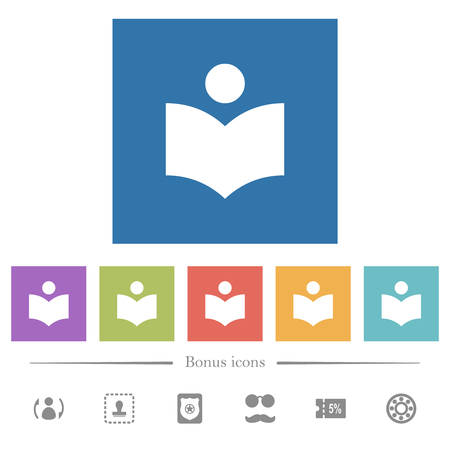 Library flat white icons in square backgrounds. 6 bonus icons included.