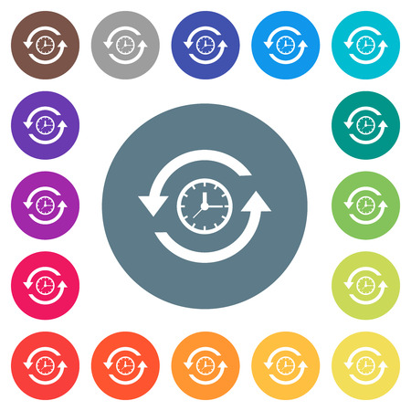 History flat white icons on round color backgrounds. 17 background color variations are included.