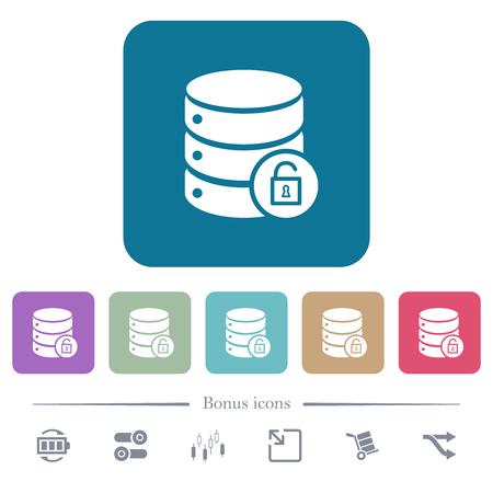 Unlock database white flat icons on color rounded square backgrounds. 6 bonus icons included Illustration