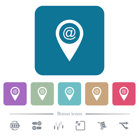 Send GPS map location as email white flat icons on color rounded square backgrounds. 6 bonus icons included Stock Illustratie