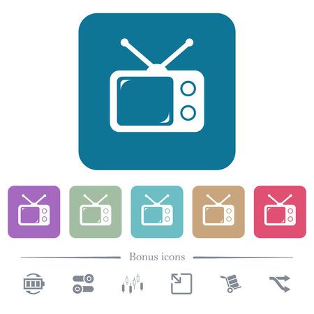Vintage retro television white flat icons on color rounded square backgrounds. 6 bonus icons included Ilustração