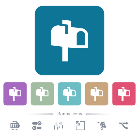 Mailbox white flat icons on color rounded square backgrounds. 6 bonus icons included