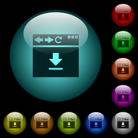 Browser download icons in color illuminated spherical glass buttons on black background. Can be used to black or dark templates