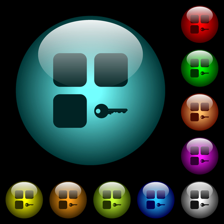 Secure component icons in color illuminated spherical glass buttons on black background. Can be used to black or dark templates Stock fotó - 121536759