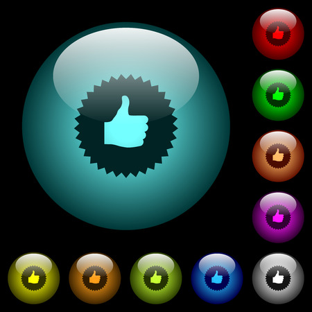 Thumbs up sticker icons in color illuminated spherical glass buttons on black background. Can be used to black or dark templates