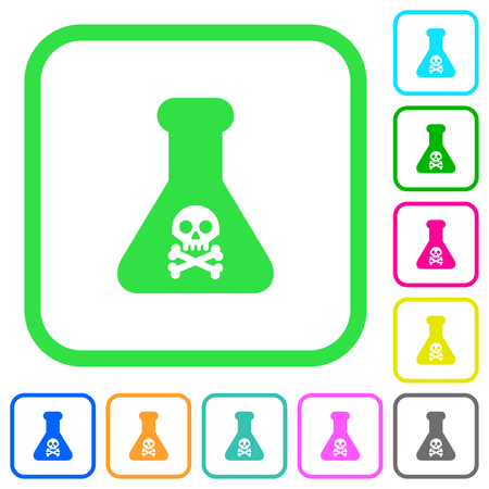 Dangerous chemical experiment vivid colored flat icons in curved borders on white background Ilustrace
