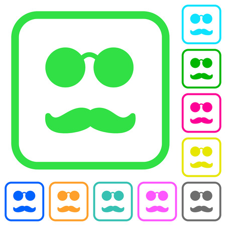 Glasses and mustache vivid colored flat icons in curved borders on white background