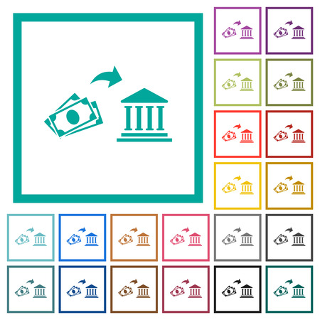 Cash deposit to bank flat color icons with quadrant frames on white background Illustration