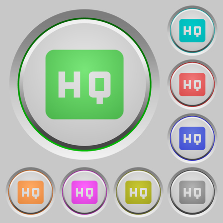 High quality sign color icons on sunk push buttons Illustration