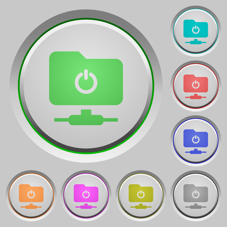 Logout from FTP color icons on sunk push buttons Illustration