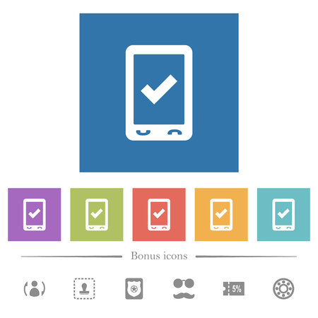 Mobile ok flat white icons in square backgrounds. 6 bonus icons included.