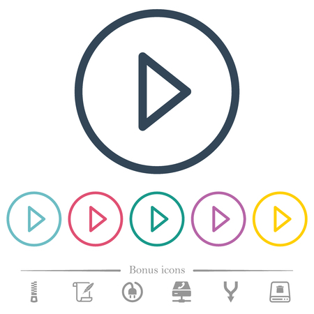 Media play flat color icons in round outlines. 6 bonus icons included.