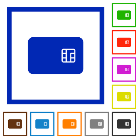 Chip card flat color icons in square frames on white background