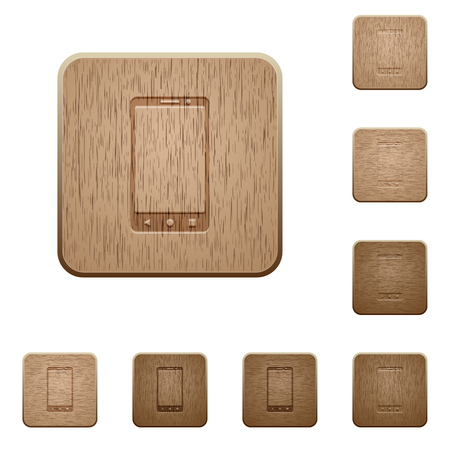 Modern mobile phone with three buttons on rounded square carved wooden button styles