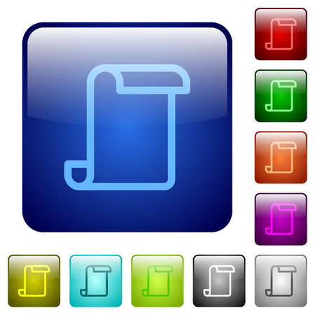 Blank paper scroll icons in rounded square color glossy button set