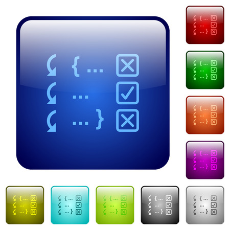 Debugging program icons in rounded square color glossy button set