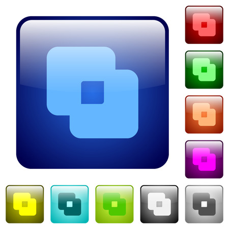 Exclude shapes icons in rounded square color glossy button set