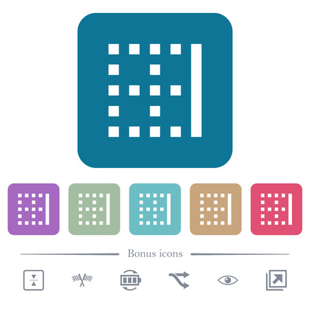 Right border white flat icons on color rounded square backgrounds. 6 bonus icons included