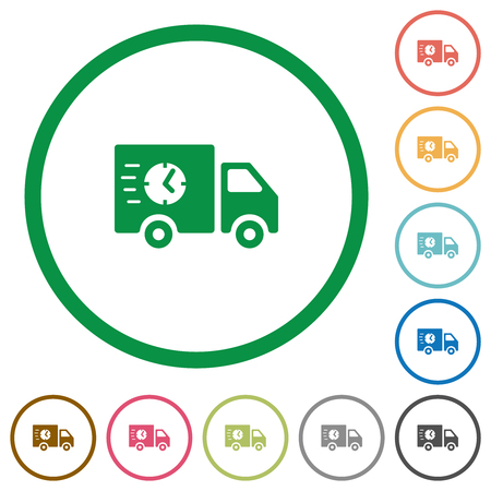 Fast delivery truck flat color icons in round outlines on white background
